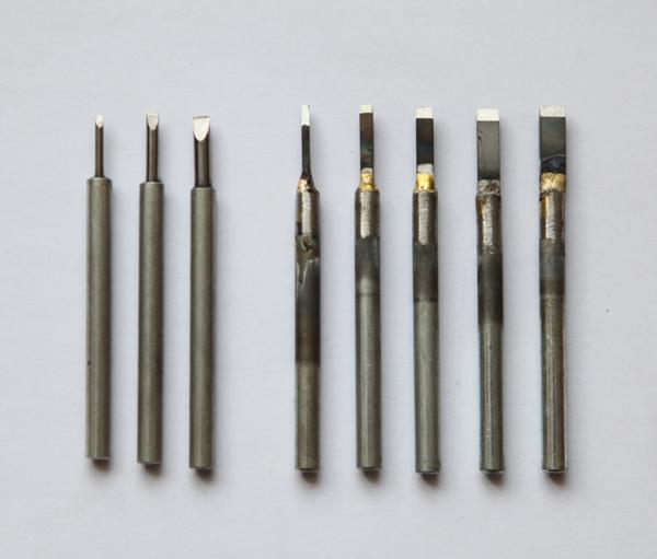 图2-3,几种不同宽度的扁型或圆型刀头磨成的平口刀.JPG