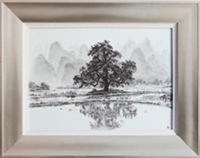 图3-65 丁泓楚《春雨》刻瓷板600mm430mm,点刻、面刻工艺结合雕刻.JPG
