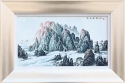 图3-78 丁邦海《黄山朝晖》刻瓷板 570mm×320mm点刻、线刻、面刻工艺结合雕刻,.JPG