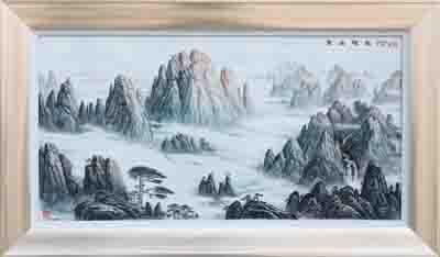 图4-84 丁邦海《黄山晓色》刻瓷板 1200mm×600mm.JPG