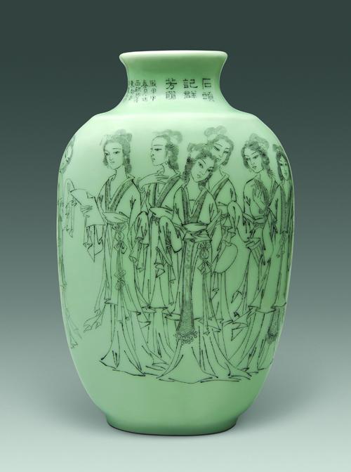 2、张明文 《石头记群芳》刻瓷瓶 高350mm.jpg