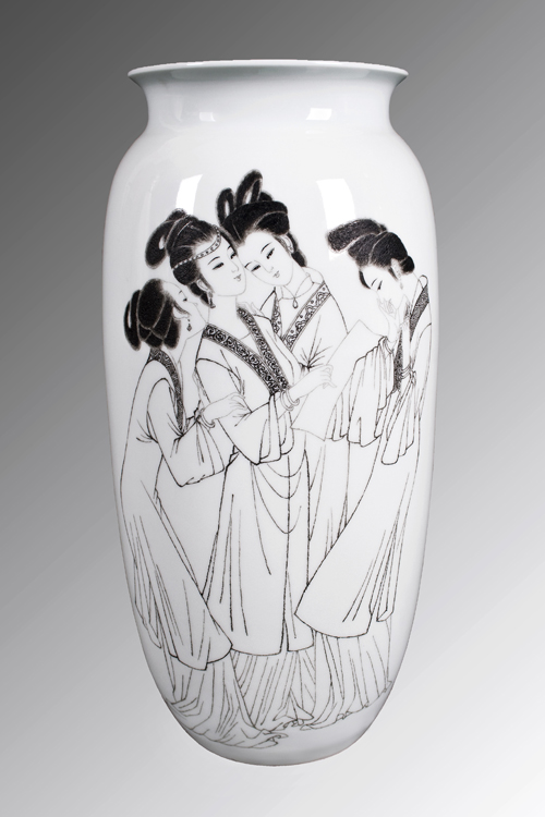 33、杜翠华 《探春结社》刻瓷瓶 高420mm.jpg